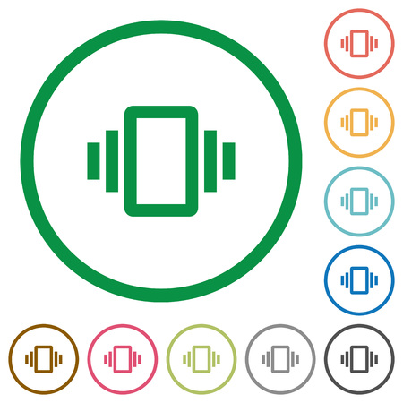 Smartphone vibration flat color icons in round outlines on white background Illustration