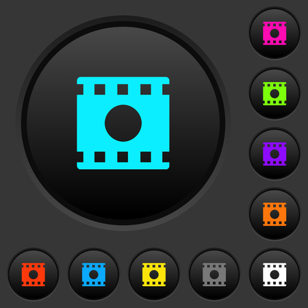 Movie record dark push buttons with vivid color icons on dark grey background Çizim