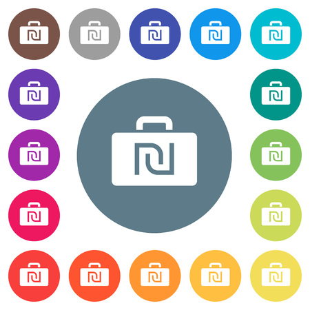 Israeli new Shekel bag flat white icons on round color backgrounds. 17 background color variations are included.