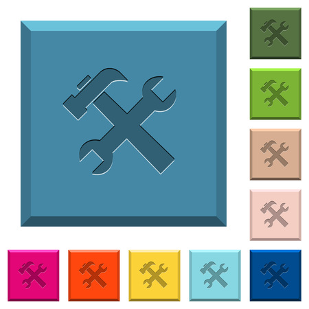 Wrench and hammer engraved icons on edged square buttons in various trendy colors Foto de archivo - 111945819