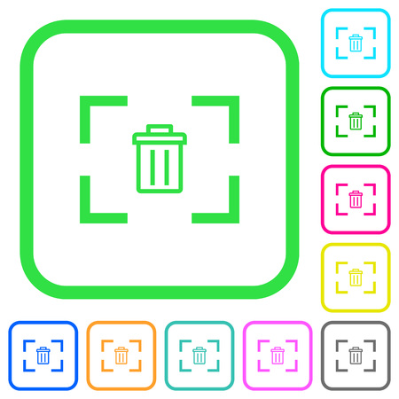 Delete image from camera vivid colored flat icons in curved borders on white background