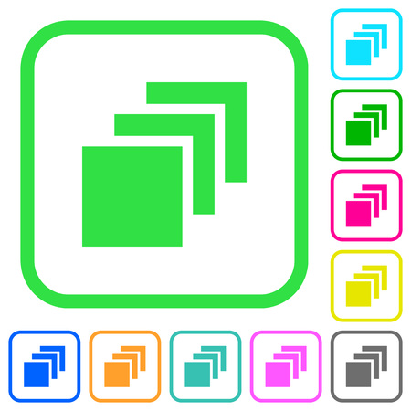 Multiple canvases vivid colored flat icons in curved borders on white background