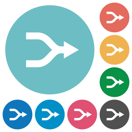 Merge arrows flat white icons on round color backgrounds