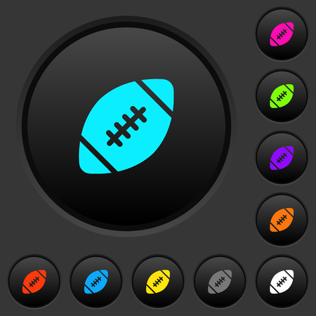 Rugby ball dark push buttons with vivid color icons on dark grey background