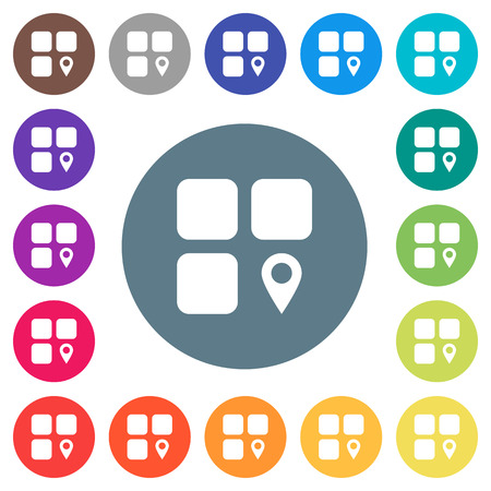 Component location flat white icons on round color backgrounds. 17 background color variations are included.