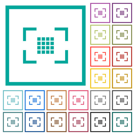 Camera sensor settings flat color icons with quadrant frames on white background