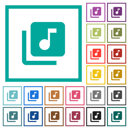 Music library flat color icons with quadrant frames on white background