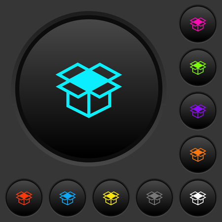 Open box dark push buttons with vivid color icons on dark grey background