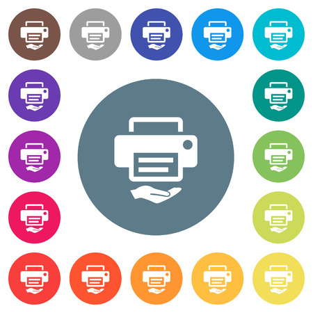 Shared printer flat white icons on round color backgrounds. 17 background color variations are included. Illustration