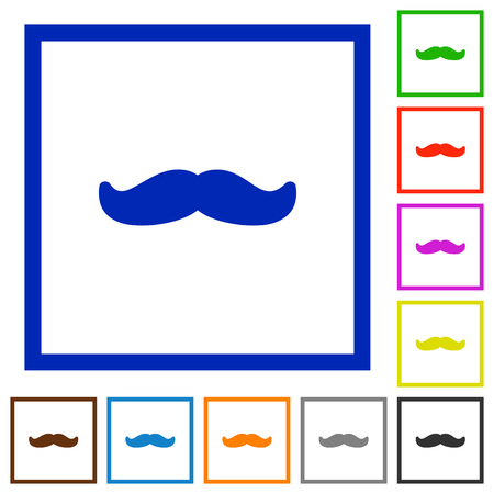 Mustache flat color icons in square frames on white background