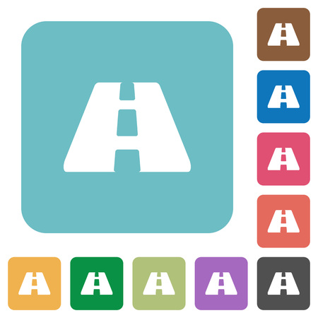 Road white flat icons on color rounded square backgrounds