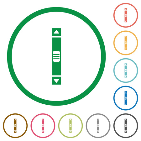 Vertical scroll bar flat color icons in round outlines on white background