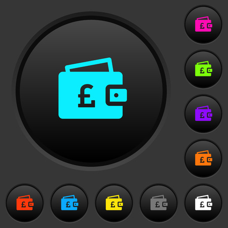 Pound wallet dark push buttons with vivid color icons on dark grey background