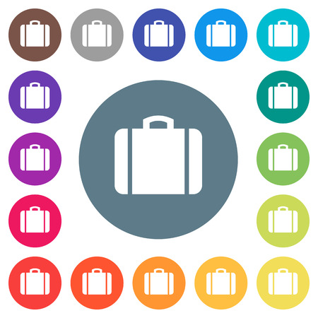Suitcase flat white icons on round color backgrounds. 17 background color variations are included. Illustration