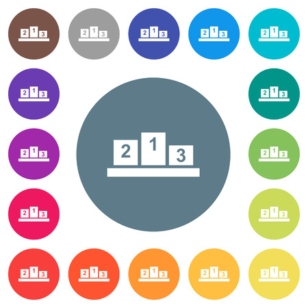 Winners podium with inside numbers flat white icons on round color backgrounds. 17 background color variations are included.