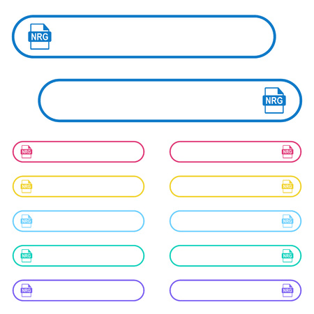 NRG file format icons in rounded color menu buttons. Left and right side icon variations.