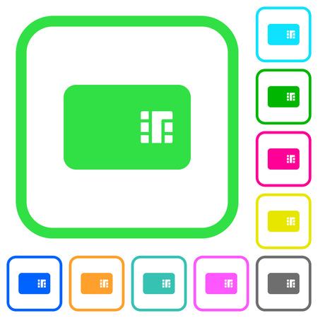 Icônes plates de couleur vive de carte à puce dans les frontières incurvées sur le fond blanc