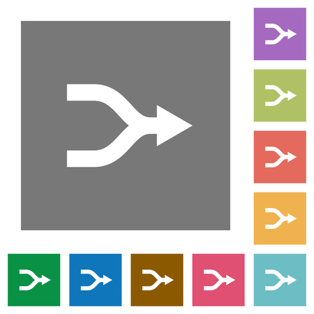 Merge arrows flat icons on simple color square backgrounds