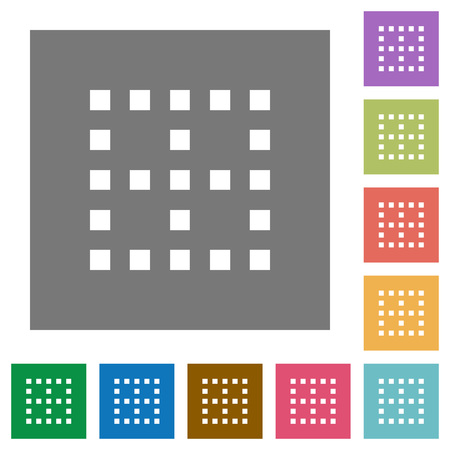 No borders flat icons on simple color square backgrounds