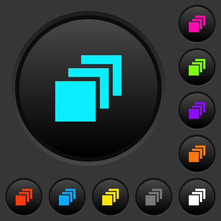 Multiple canvases dark push buttons with vivid color icons on dark grey background Illusztráció