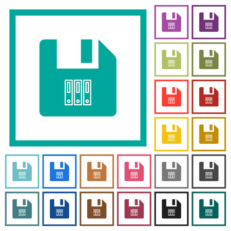 Archive file flat color icons with quadrant frames on white background Çizim