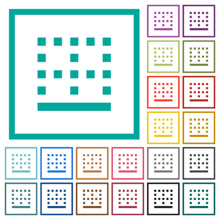 Bottom border flat color icons with quadrant frames on white background
