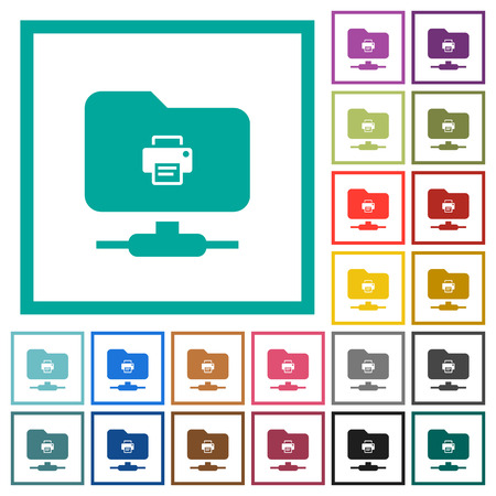 FTP print flat color icons with quadrant frames on white background