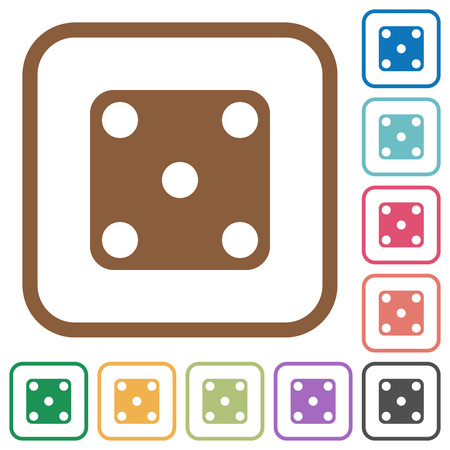 Domino five simple icons in color rounded square frames on white background