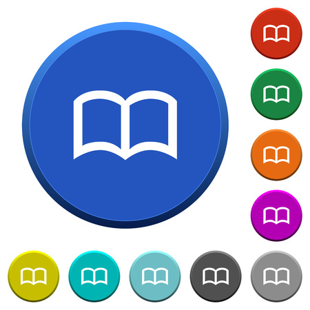 Open book round color beveled buttons with smooth surfaces and flat white icons