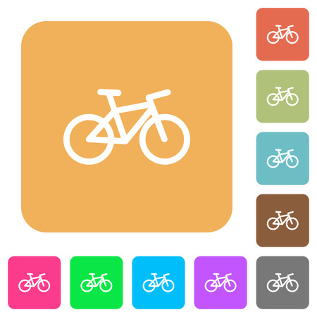 Bicycle flat icons on rounded square vivid color backgrounds.