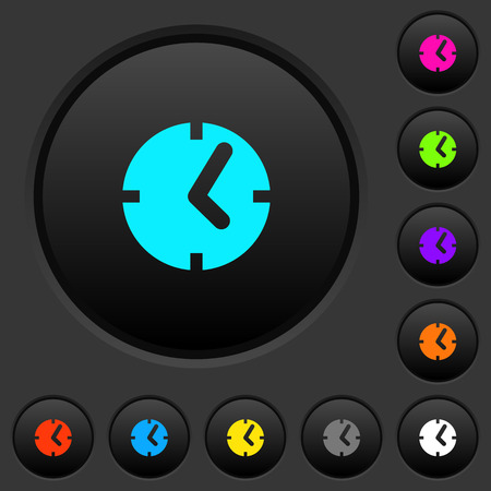 Clock dark push buttons with vivid color icons on dark grey background Illustration