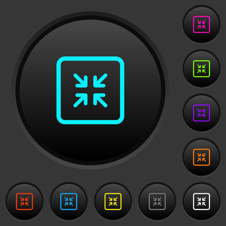 Shrink object dark push buttons with vivid color icons on dark grey background