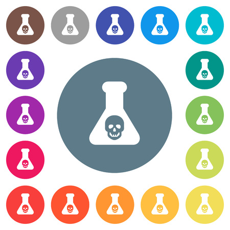 Dangerous chemical experiment flat white icons on round color backgrounds. 17 background color variations are included. Illustration