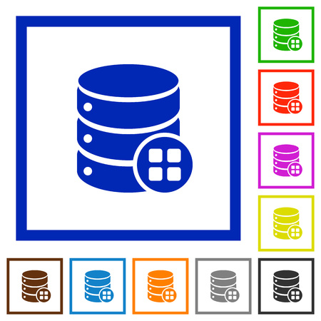 Database modules flat color icons in square frames on white background