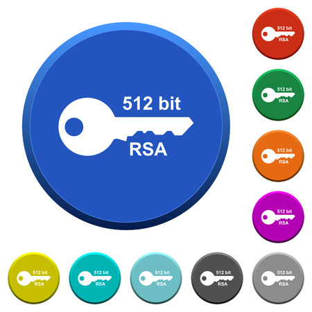 512 bit rsa encryption round color beveled buttons with smooth surfaces and flat white icons