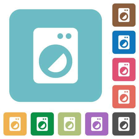 Washing machine white flat icons on color rounded square backgrounds Stock Illustratie