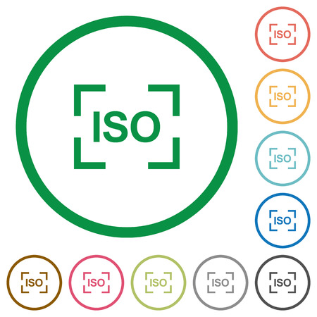 Camera iso speed setting flat color icons in round outlines on white background 向量圖像