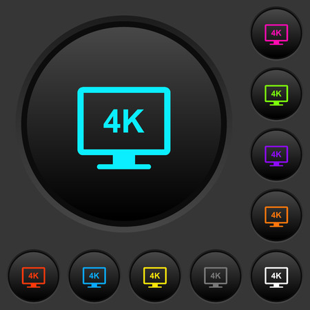 4K display dark push buttons with vivid color icons on dark grey background