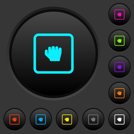 Grab object dark push buttons with vivid color icons on dark grey background