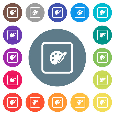 Adjust object color flat white icons on round color backgrounds. 17 background color variations are included.