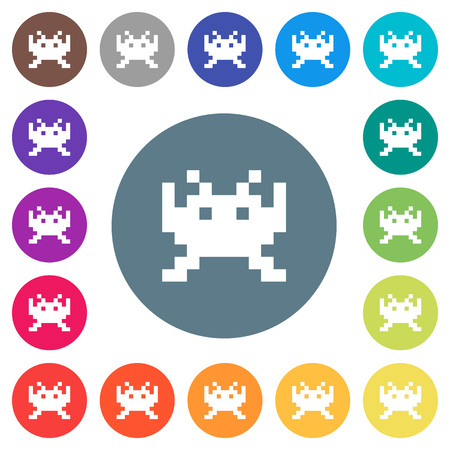 Video game flat white icons on round color backgrounds. 17 background color variations are included.