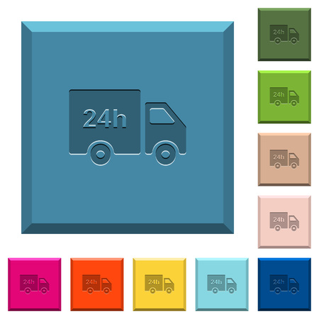 24 hour delivery truck engraved icons on edged square buttons in various trendy colors Illustration