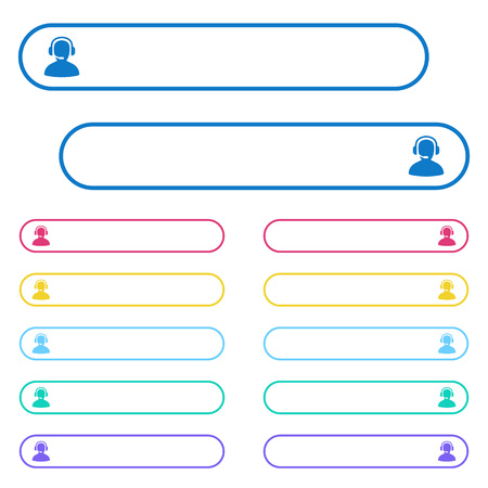 Operator icons in rounded color menu buttons. Left and right side icon variations.