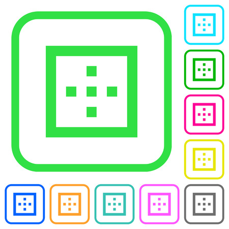 Outer borders vivid colored flat icons in curved borders on white background Vectores