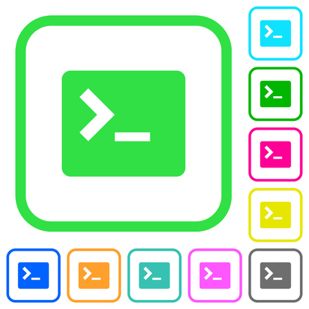 Command terminal vivid colored flat icons in curved borders on white background