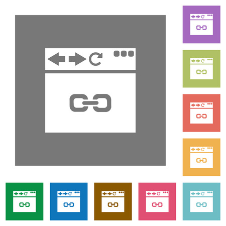 Browser link flat icons on simple color square backgrounds