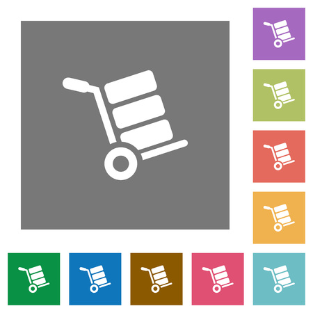 Hand truck with boxes flat icons on simple color square backgrounds