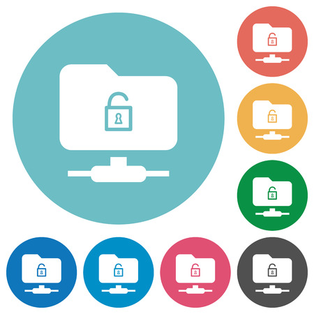 FTP unlock flat white icons on round color backgrounds Illustration