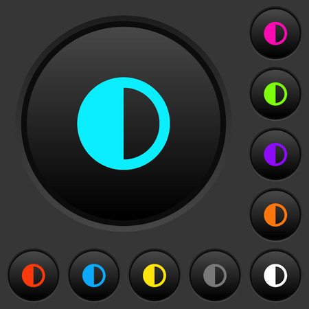 Contrast control dark push buttons with vivid color icons on dark grey background