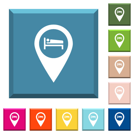 Hotel GPS map location white icons on edged square buttons in various trendy colors